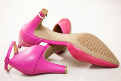 Pink  wedding bride shoes Stock Images