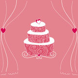 Pink wedding cake. Lovely pink wedding cake and curtains Royalty Free Stock Photos