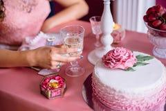 Pink wedding cake. Dessert table, Pink wedding cake Royalty Free Stock Photos