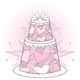 Pink wedding cake with hearts Stock Photos