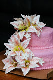 Pink Wedding Cake Lily flower topper Royalty Free Stock Images