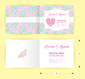 Pink wedding card template heart icon, white name label on pastel rose shape pattern blue background Royalty Free Stock Images