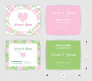 Pink wedding card template heart icon, white name label on pastel rose shape pattern green background Royalty Free Stock Photo