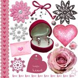 Pink wedding elements set Royalty Free Stock Photo