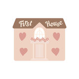 Pink wedding house for newlyweds with windows hearts Royalty Free Stock Image