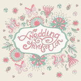 Pink wedding invitation with flowers Royalty Free Stock Photo
