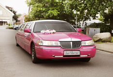 Pink wedding limousine. A pink wedding car with flower arrangement on the hood Royalty Free Stock Photos