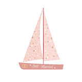 Pink wedding sailing yacht Stock Photography