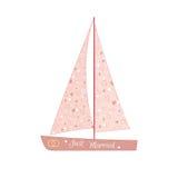 Pink wedding sailing yacht Stock Photography