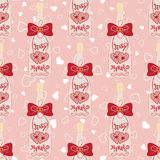 Wedding seamless pattern. Bottle of champagne with hearts and bow Stock Photography