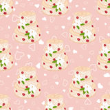 Wedding seamless pattern. Cake with cream red roses and white lilies Royalty Free Stock Photography