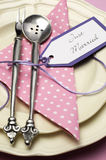 Pink wedding table setting. Vertical close up. Stock Photography
