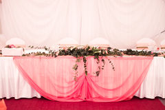 Pink wedding tables Stock Photos