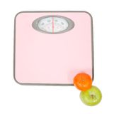 Pink Weighing Scales and fruits Royalty Free Stock Images