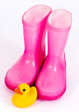 Pink wellingtons Stock Photos