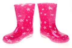 Pink Wellington boots Stock Photos
