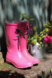Pink wellingtons in front of an old shed Royalty Free Stock Photo