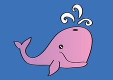 Pink Whale Blowing Water Cartoon Vector Illustration Stock Photography