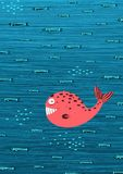 Pink Whale and Fish Underwater Cartoon Background Royalty Free Stock Photo