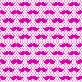 Pink Whiskers Moustache Seamless Background. Pink woman fun mustache whiskers hipster background pattern. Seamless tile Stock Image