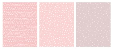 Pink and White Abstract Hand Drawn Childish Vector Pattern Set. Abstract Hand Drawn Childish Vector Pattern Set. White Waves, Arches and Dots on a Various Pink royalty free illustration