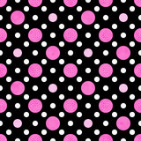 Pink, White And Black Polka Dot Fabric Background Royalty Free Stock Images