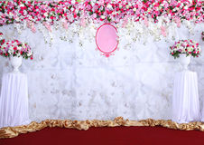 Pink and white backdrop flowers arrangement ready for wedding. Royalty Free Stock Photos
