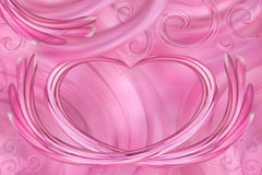 Pink-white background. Curls in the shape of heart. Postcard for the holiday. For design. Royalty Free Stock Photography