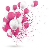 Pink White Balloons Confetti White Cover. Pink and white balloons with confetti on the white background stock illustration