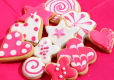 Pink and White Biscuits Royalty Free Stock Photography