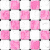 Pink, white, black squares seamless pattern texture. Background with gray grout Royalty Free Illustration