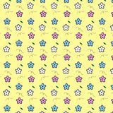 Pink white blue flower with curly line and leaf pattern yellow b. Ackground vector illustration image Stock Photography