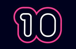 Pink white blue number 10 logo company icon design. Pink white blue number 10 logo design suitable for a company or business stock illustration