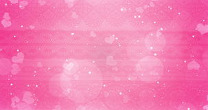 Pink and white bokeh heart on white hearts shape and stars blinking background with particles sparkle glitter, valentine day stock video footage