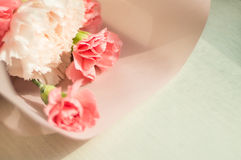 Pink carnation flowers on wooden background - Mothers Day concept Royalty Free Stock Images