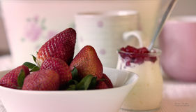Pink and white breakfast Stock Photos
