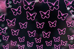 Colorful butterflies on a black background. Isolated butterflies. Template, blank, bright, colorful. royalty free illustration