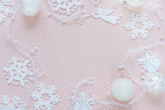 Pink and white Christmas frame Royalty Free Stock Image