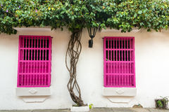 Pink and White Colonial Architecture Royalty Free Stock Photo