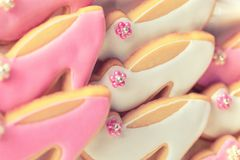 Pink and white cookies Stock Image