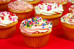 Pink and white cupcakes. Pink and white frosted cupcakes with sprinkles Royalty Free Stock Image