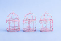 Pink and White Decorative Mini Wrought Iron Cages Royalty Free Stock Images