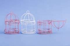 Pink and White Decorative Mini Wrought Iron Cages Stock Photography