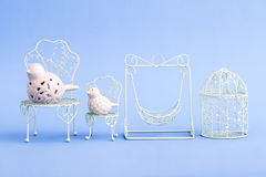 Pink and White Decorative Mini Wrought Iron Chairs Royalty Free Stock Images