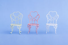Pink and White Decorative Mini Wrought Iron Chairs Royalty Free Stock Photo