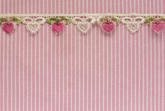 Pink and white denim with  lace Royalty Free Stock Photos