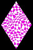Pink white diamond. A gel pens hand drawing of a pink white diamond shape on a black background Royalty Free Stock Photos