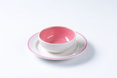 Pink and white dinner set Royalty Free Stock Image