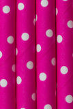 Pink white dot paper straw background Stock Photography
