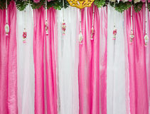 Pink and white fabric backdrop. Royalty Free Stock Images